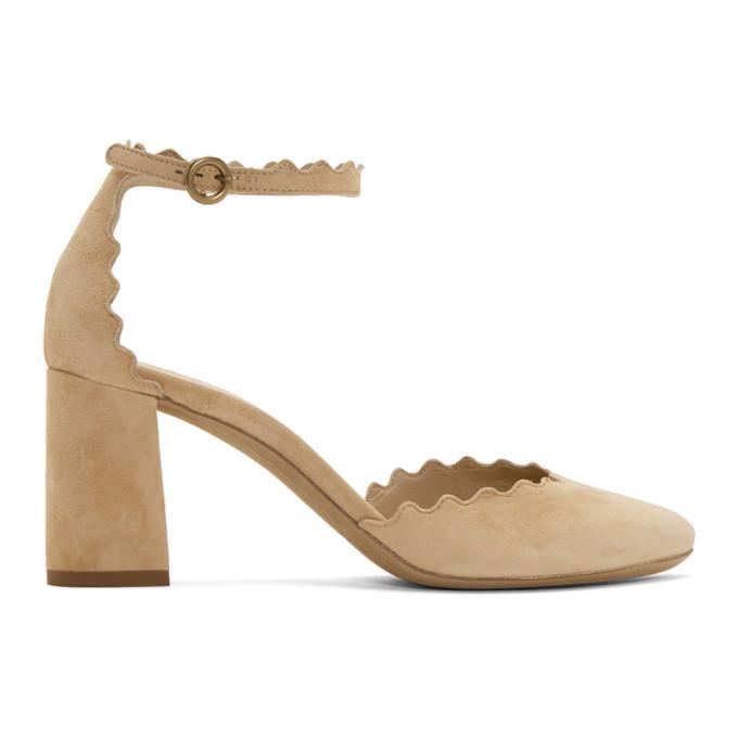 Chloe Beige Suede Lauren Ankle Strap Heels