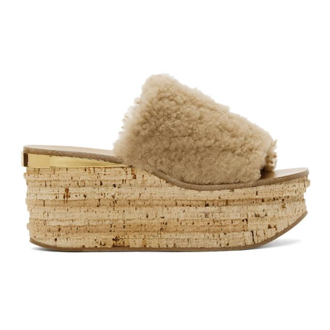 Image of Chloé Beige Shearling Camille Flatform Sandals