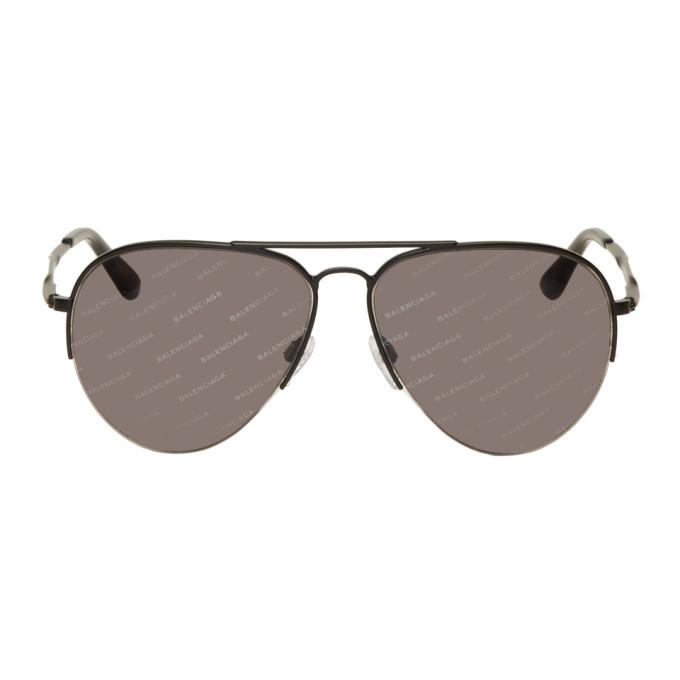 Image of Balenciaga Black All Over Logo Aviator Sunglasses