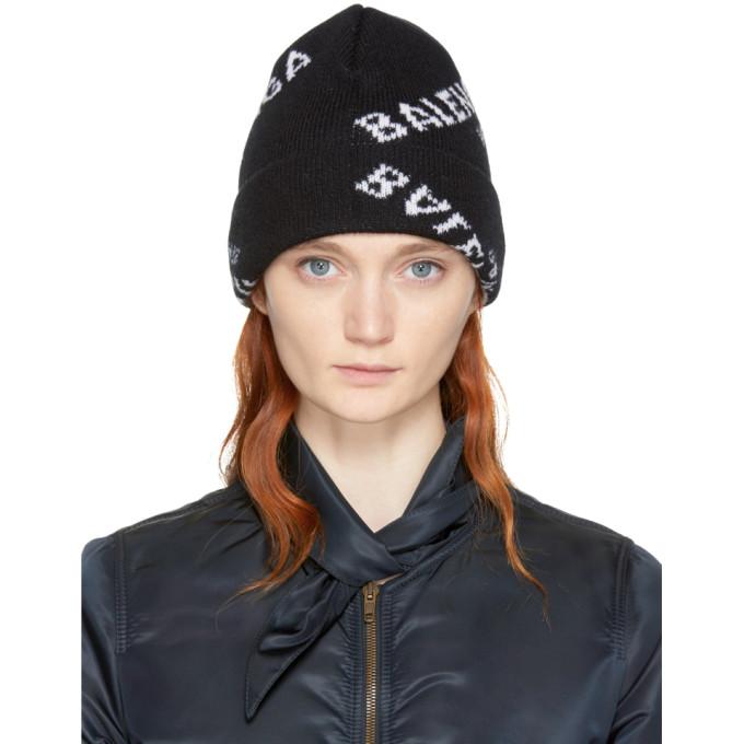 Image of Balenciaga Black All Over Logo Beanie