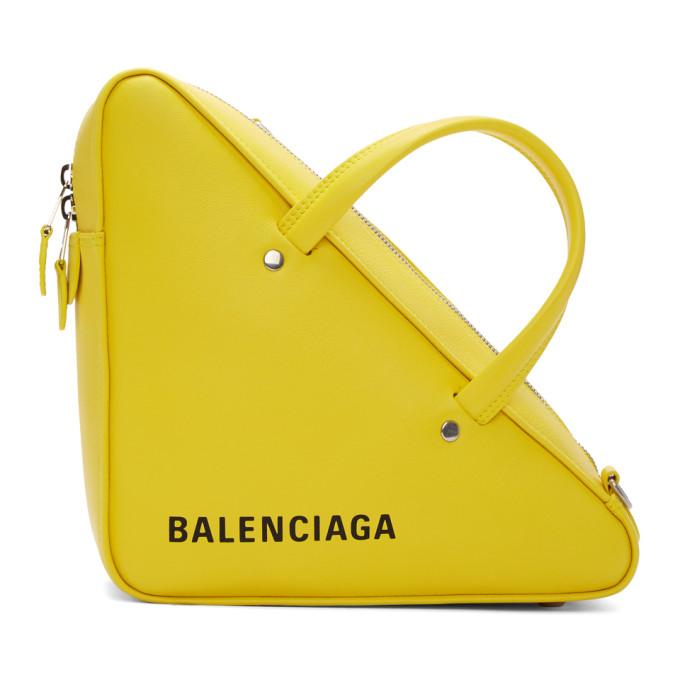 Balenciaga Yellow Small Triangle Duffle Bag