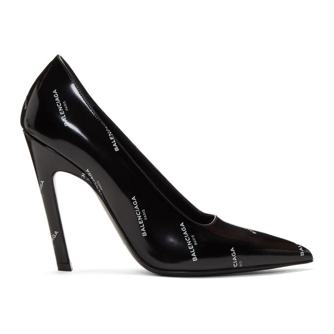 Image of Balenciaga Black All Over Logo Slash Heels