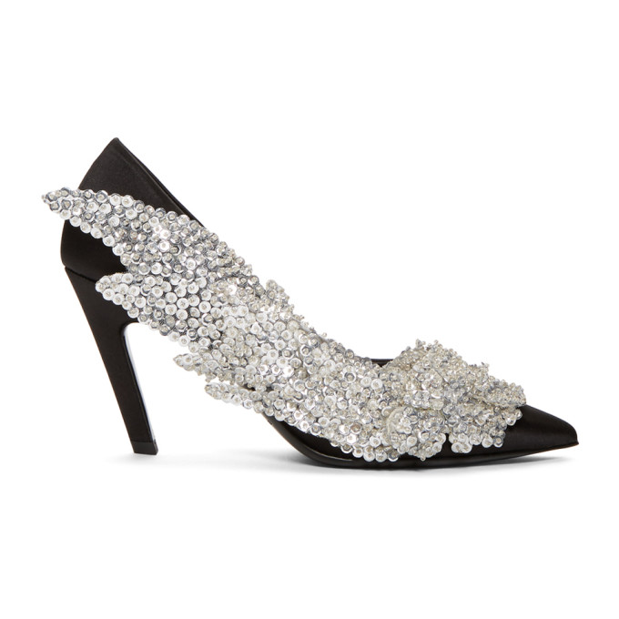 Balenciaga Black Sequin Slash Heels