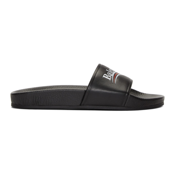 Balenciaga Black Campaign Pool Slides