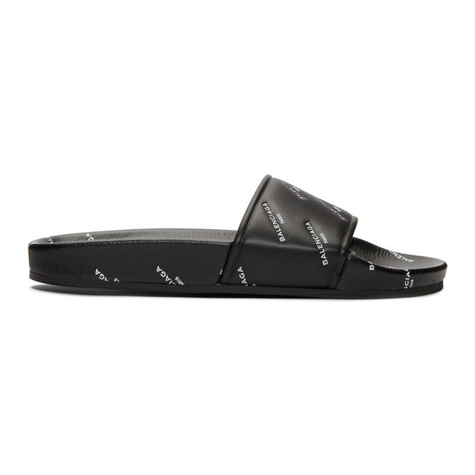 Balenciaga Black All Over Logo Piscine Slides