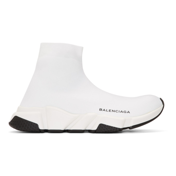 Balenciaga White Speed Runners High-Top Sneakers