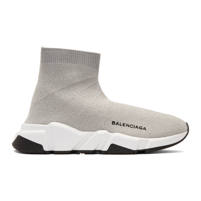 Balenciaga Silver Lurex Speed High-Top Sneakers