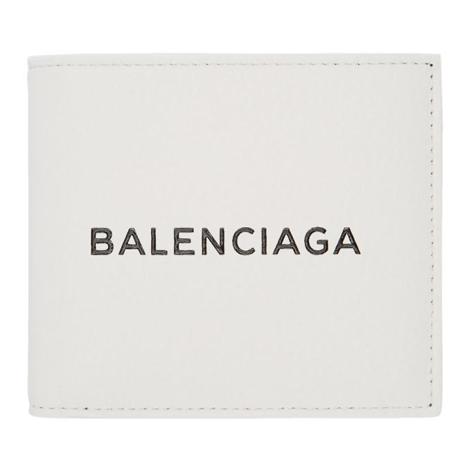 BALENCIAGA   Balenciaga White Logo Wallet   Goxip