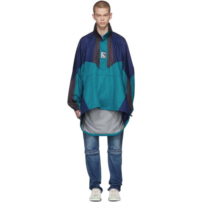 Balenciaga ブルー & ネイビー ダブル ヘム ウィンドブレーカー コート