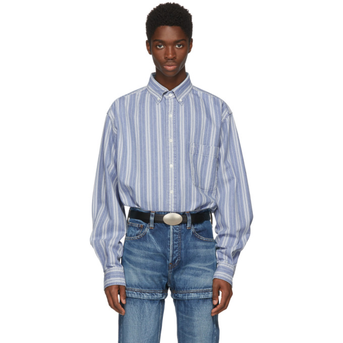 Balenciaga Blue Striped Denim Shirt