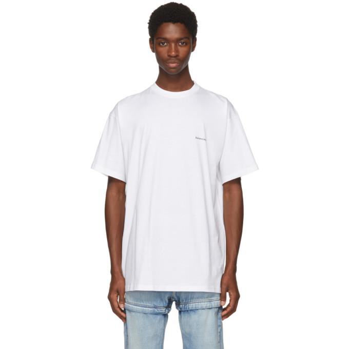 Balenciaga White Oversized Small Logo T-Shirt
