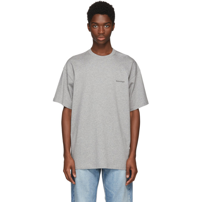 Balenciaga Grey Small Logo T-Shirt