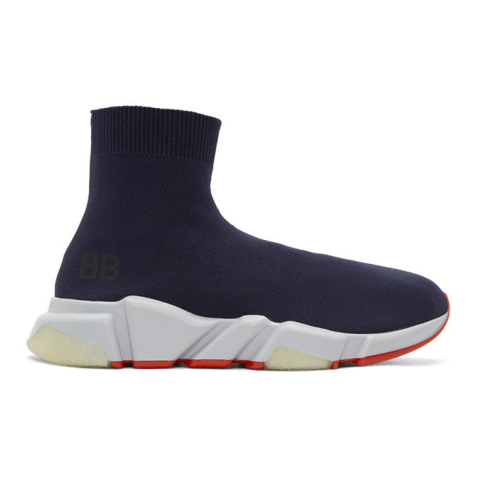 Balenciaga Navy Speed Runners High-Top Sneakers