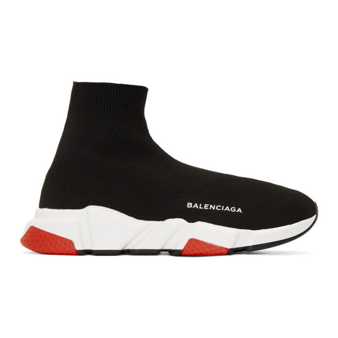 Balenciaga Black & Red Speed Sneakers
