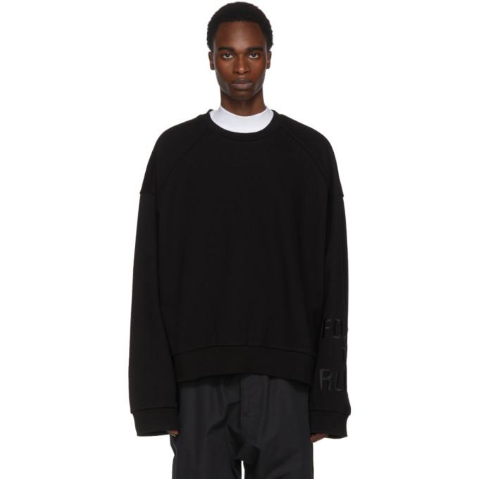 Juun.J Black Embroidered Sleeve Sweatshirt