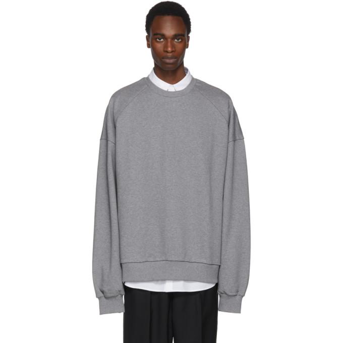 Juun.J Grey Embroidered Deconstruct Back Sweatshirt