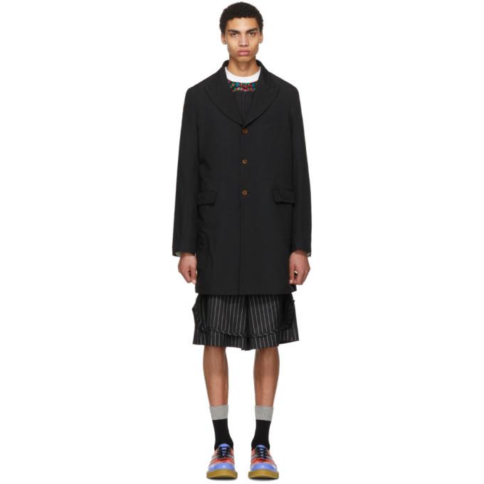 Image of Comme des Garçons Homme Plus Black Double Cloth Twill Coat