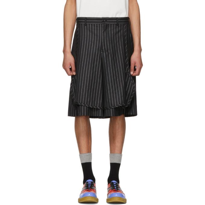 Image of Comme des Garçons Homme Plus Black & Silver Lamé Pinstripe Shorts