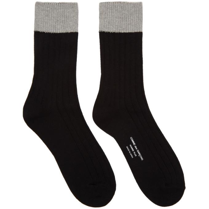 Image of Comme des Garçons Homme Plus Black & Grey Multi Rib Socks