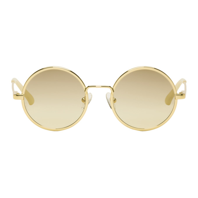 Image of Dries Van Noten Gold Linda Farrow Edition 155 C3 Sunglasses