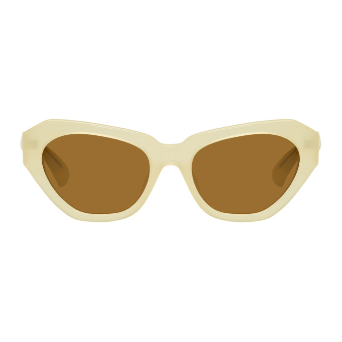 Image of Dries Van Noten Ivory Linda Farrow Edition 166 C4 Sunglasses