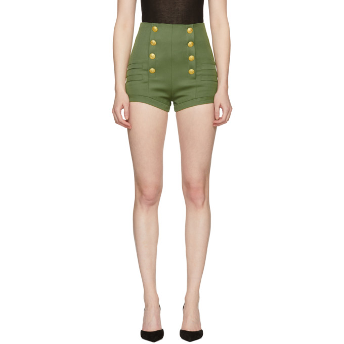 Pierre Balmain Khaki Wool Button Shorts