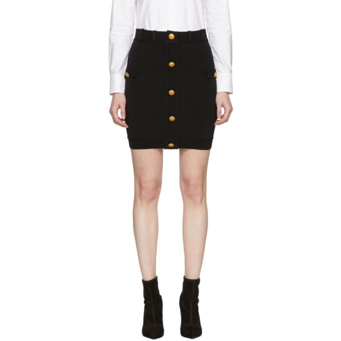 02b703de Pierre Balmain Black Button Miniskirt