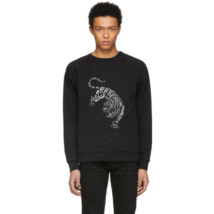 Image of Pierre Balmain Black Embroidered Tiger Sweatshirt