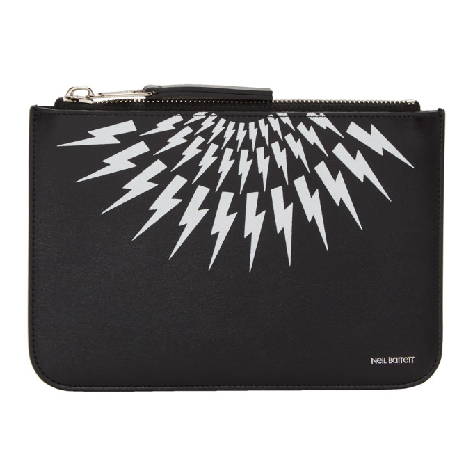 Neil Barrett Black & White Medium Zip Pouch