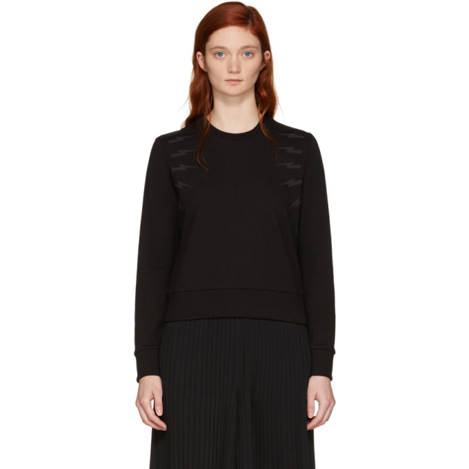 Neil Barrett Black Tonal Thunderbolt Sweatshirt