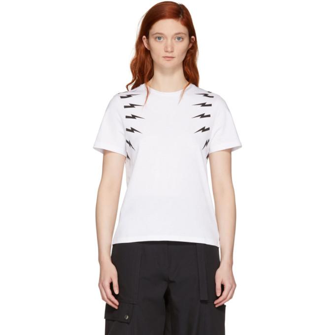 Neil Barrett White Fair Isle Sleeve T-Shirt