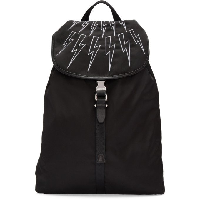 Neil Barrett Black & White Thunderbolt Rucksack