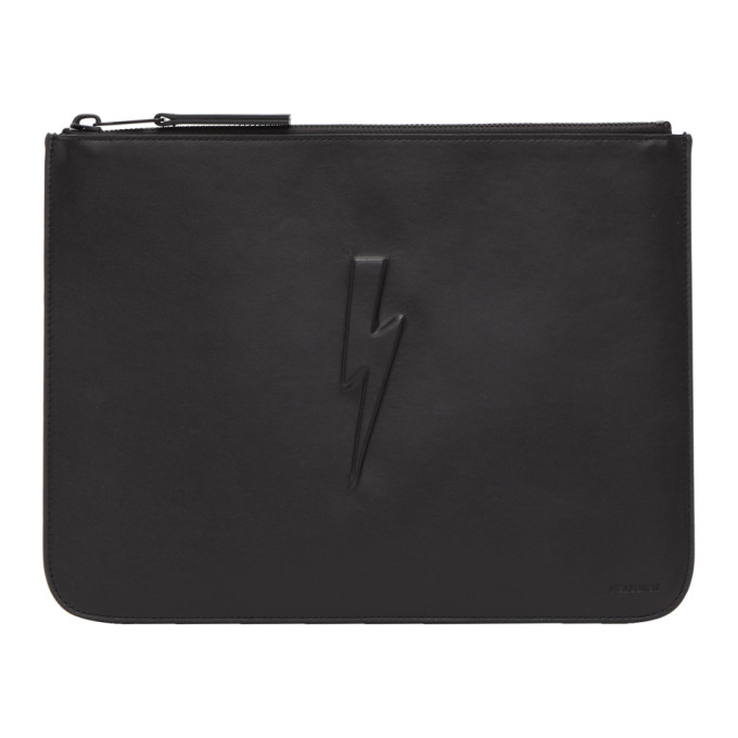 Neil Barrett Black Large Single Thunderbolt Pouch