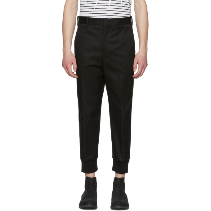 Neil Barrett Black Gabardine Drop Trousers