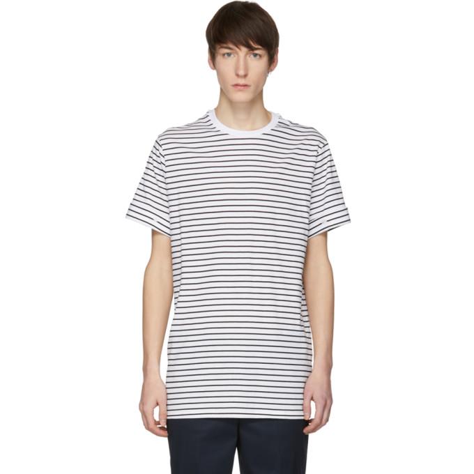 Neil Barrett White & Black Stripe T-Shirt