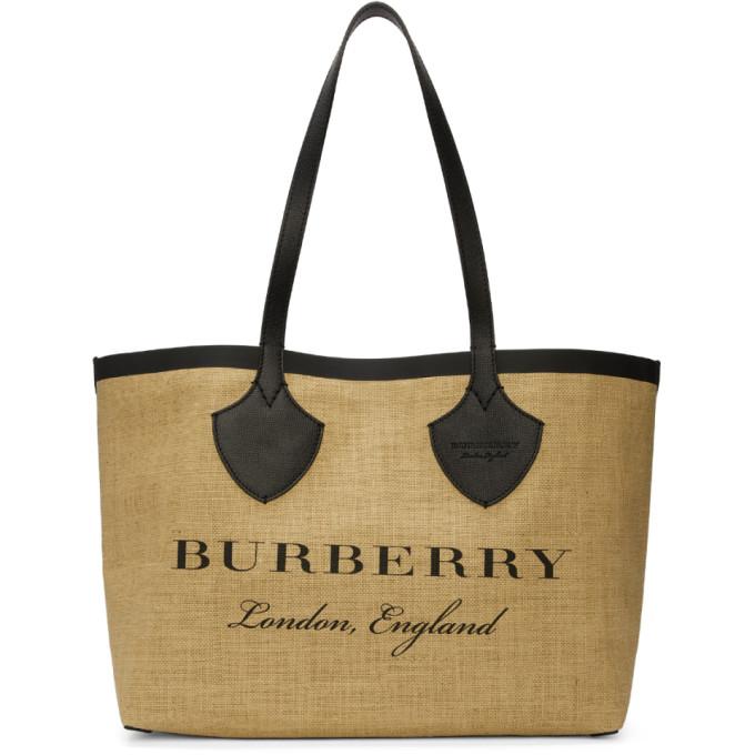 Burberry Tan & Black Giant Raffia Tote