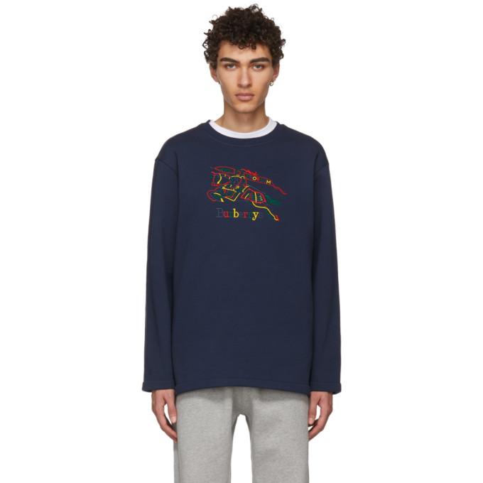 Burberry Navy Rainbow Check Knight Crest Sweatshirt