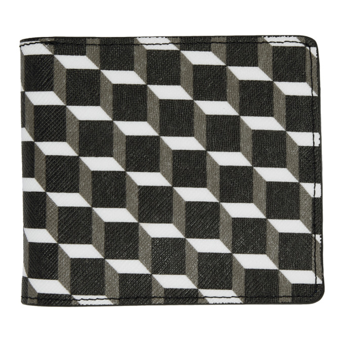 Image of Pierre Hardy Black & White Canvas Cube Wallet