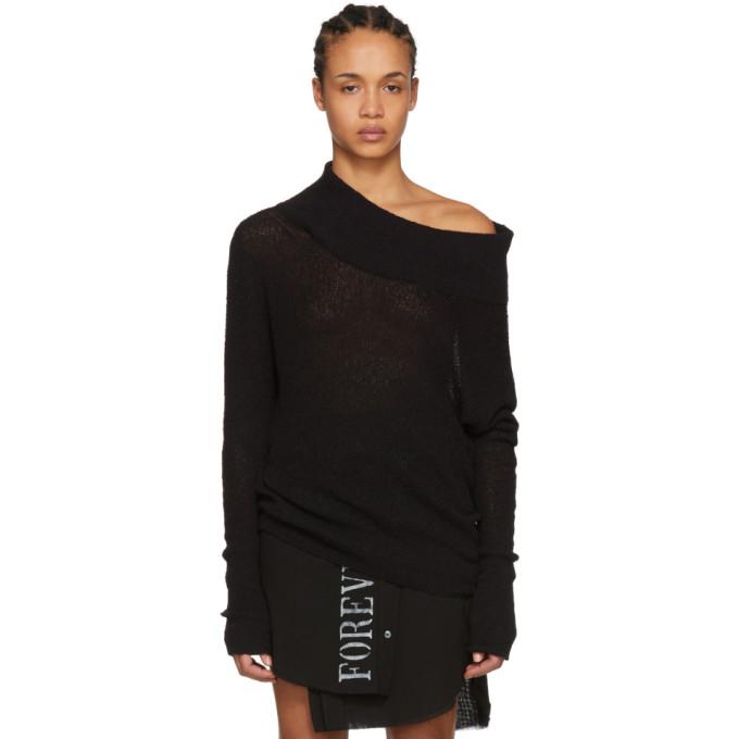 ANN DEMEULEMEESTER | Ann Demeulemeester Black Sibilla Off-The-Shoulder Sweater | Goxip