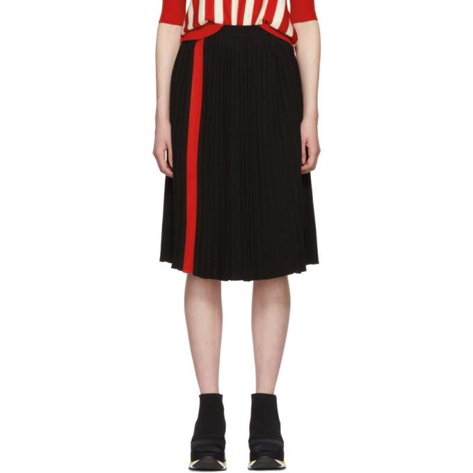 Marni Black Pleated Stripe Skirt