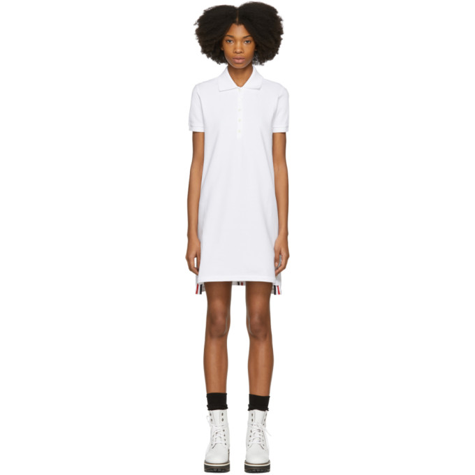 Thom Browne White Short Sleeve A-Line Polo Dress