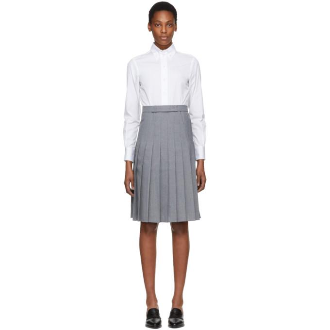 Thom Browne White & Grey Shirt Dress