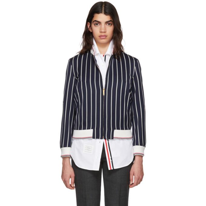 Thom Browne Navy Bold Stripe Classic Varsity Jacket