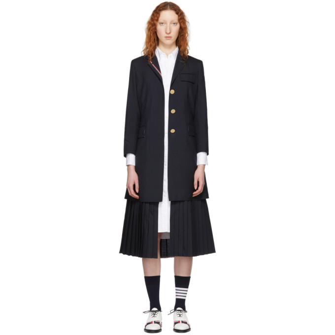 Thom Browne Navy Pleated Bottom Chesterfield Overcoat