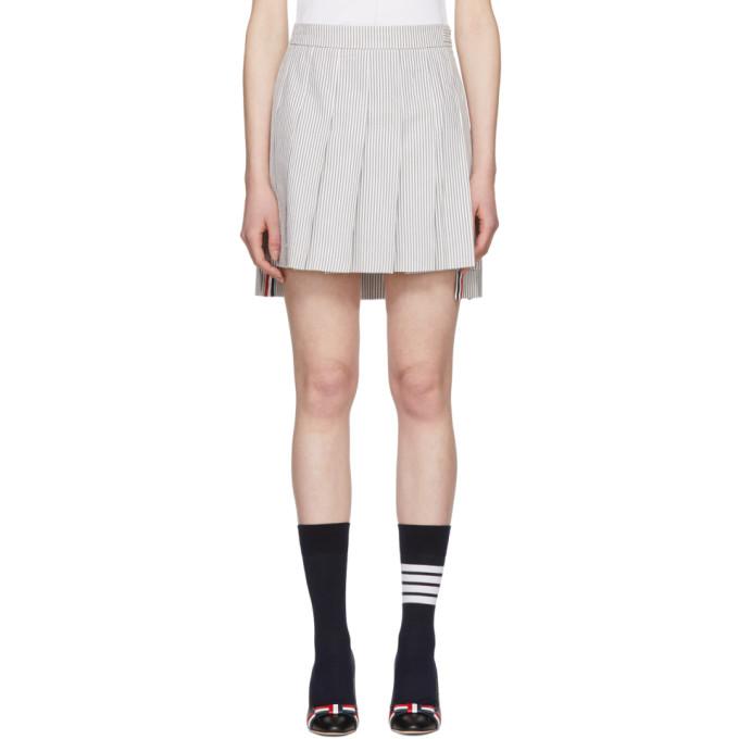 Thom Browne Grey & White Dropped Back Pleated Miniskirt