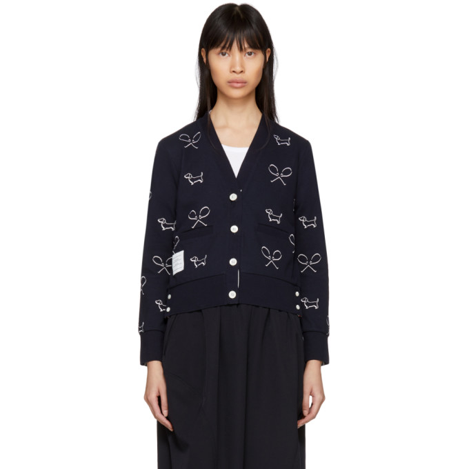Thom Browne Navy Classic Piqué Shadow Embroidery Cardigan
