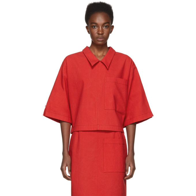 Thom Browne Red Button Back Blouse