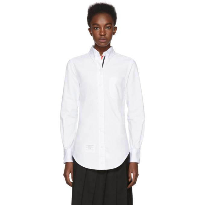 Thom Browne White Grosgrain Classic Button-Down Point Collar Shirt