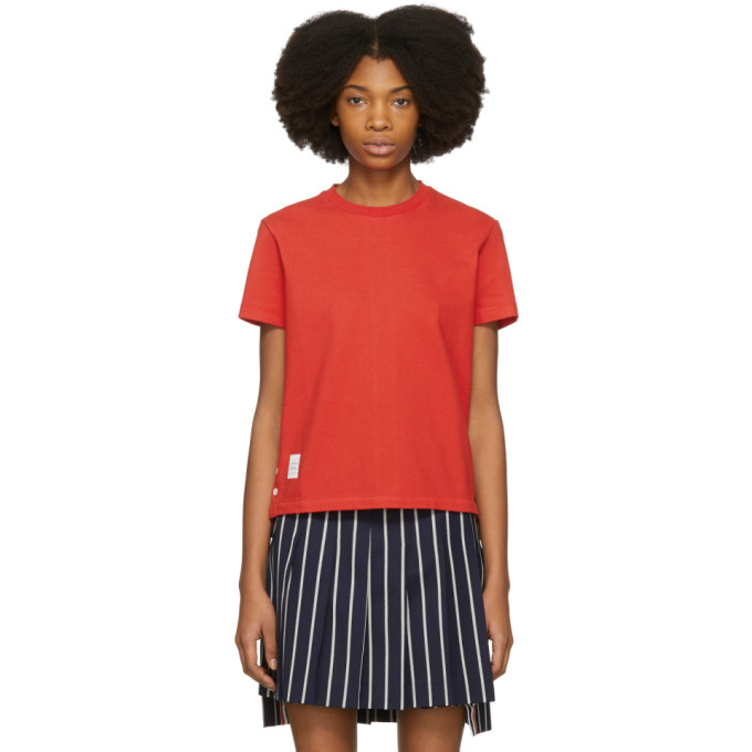Thom Browne Red Classic Piqué Relaxed T-Shirt