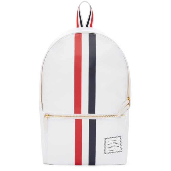 Thom Browne White Unstructured Nylon Backpack